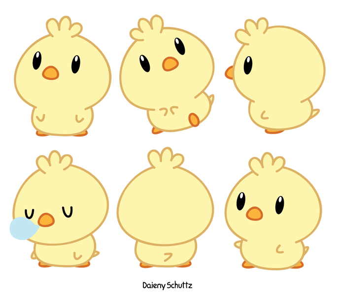 Chibi chick by daieny. Wolf clipart kawaii