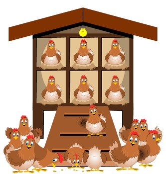 Chickens clipart hen house. Farm set hens by