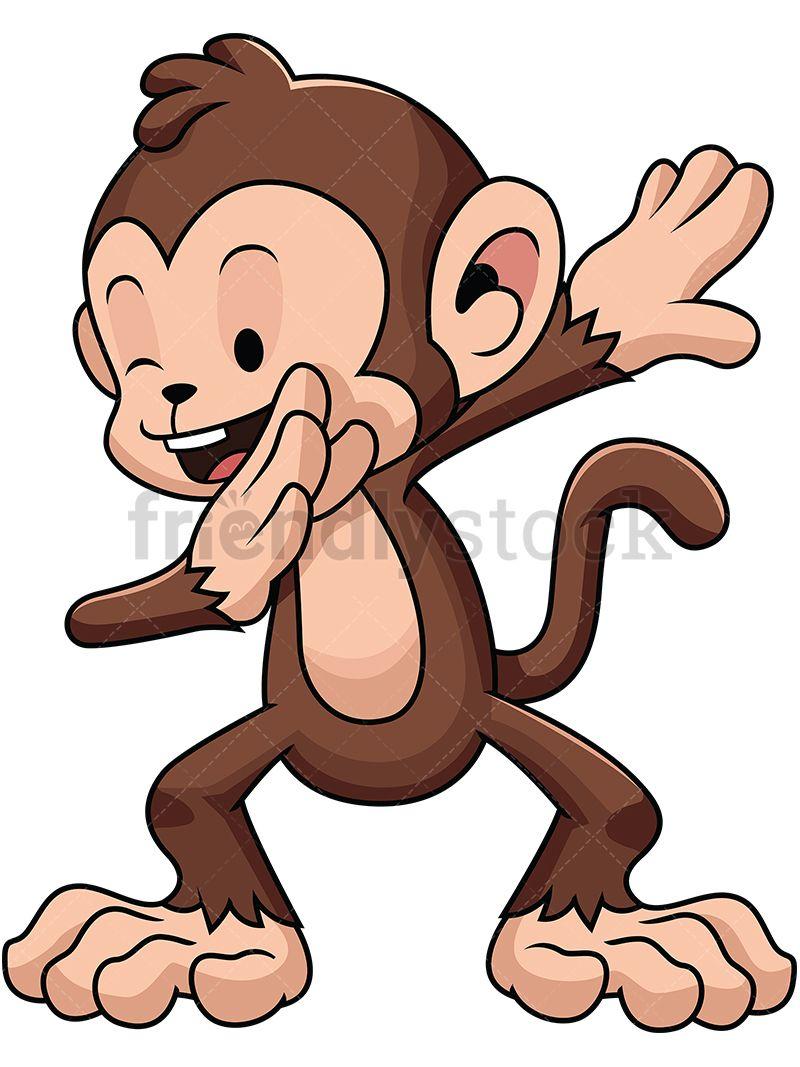 Arm clipart cute. Dabbing monkey vector cartoon