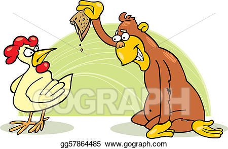 Chicken clipart monkey. Vector art and drawing