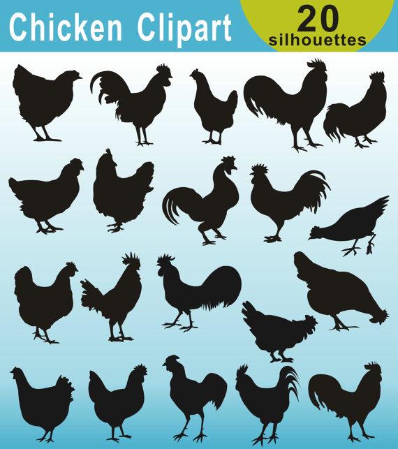 Silhouettes farm animals silhouette. Chicken clipart printable