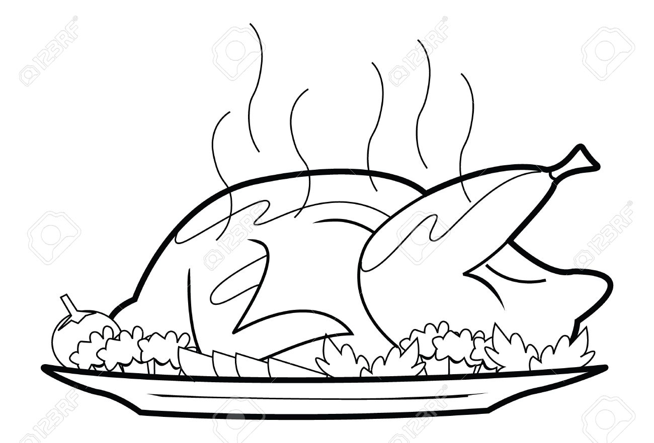 Roast chicken station . Chickens clipart black and white