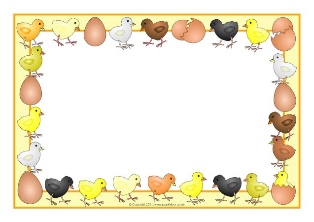 Chicks and eggs a. Chick clipart border