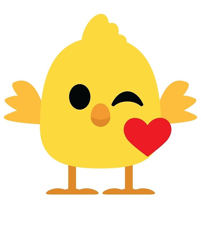 Chickens clipart emoji. Cute chick flirt and