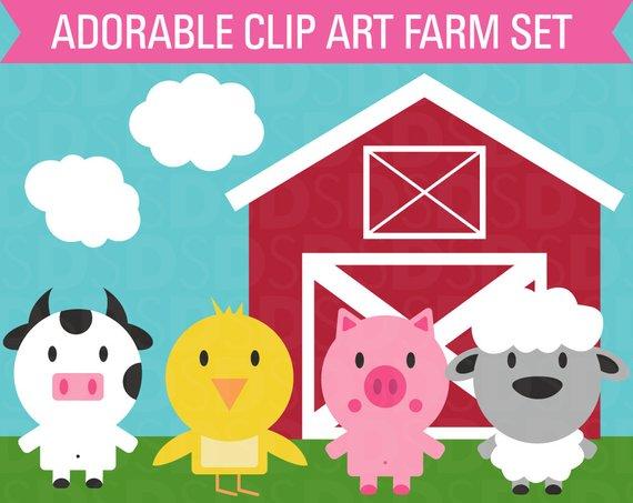 Chickens clipart farm animal. Set barn cow chicken