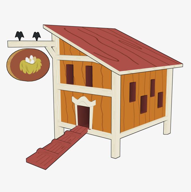 Cartoon chicken coop egg. Chickens clipart hen house
