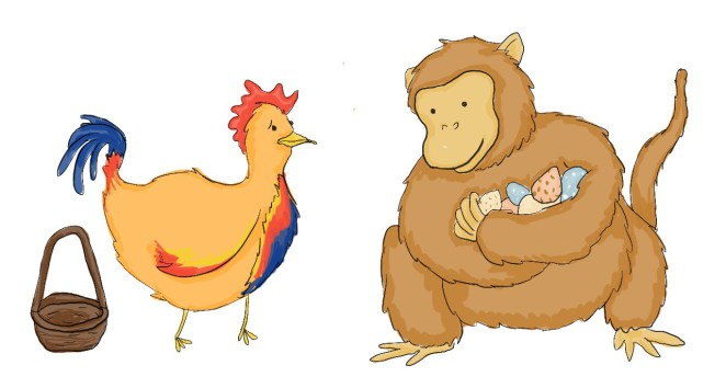 What does the year. Chickens clipart monkey