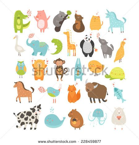 Cute animals collection vector. Chickens clipart monkey