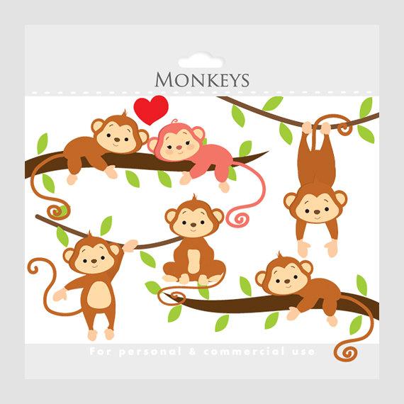 Whimsical monkeys clip art. Chickens clipart monkey