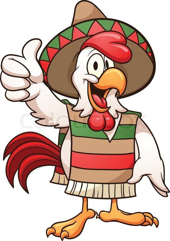 cartoon mexican chicken. Chickens clipart monkey