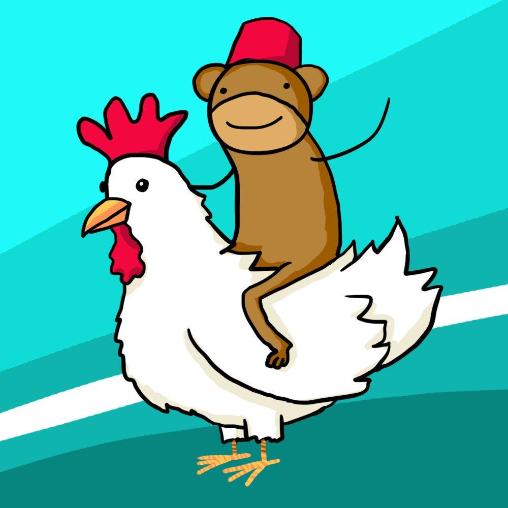 Chickens clipart monkey. Warehousecomic s creator drew
