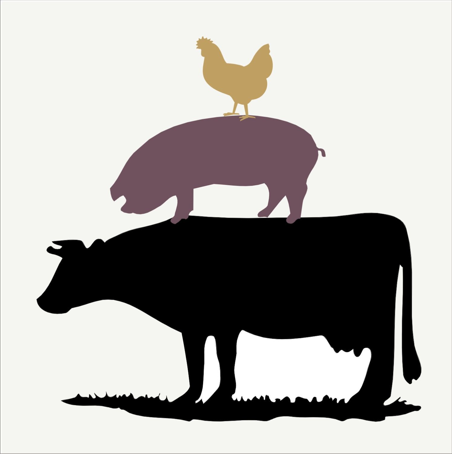 Cow chicken stack farm. Chickens clipart pig