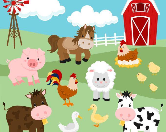 Clipart sheep barnyard. Farm animal faces set