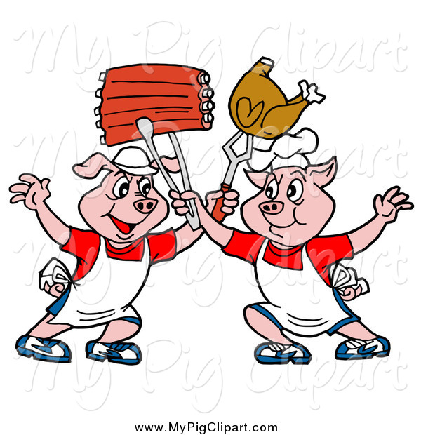 Swine of chef pigs. Chickens clipart pig
