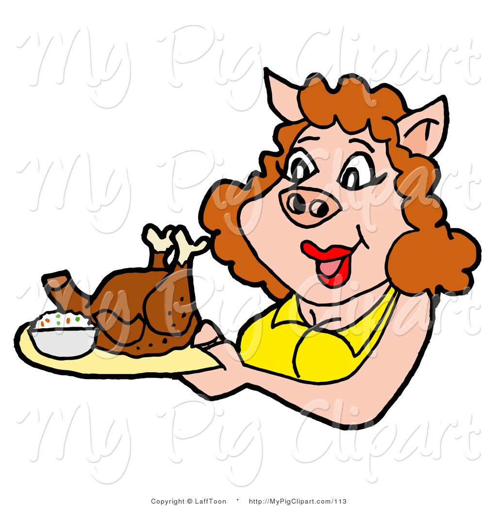 Chickens clipart pig. Swine of a woman