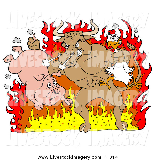 Chickens clipart pig. Clip art of a