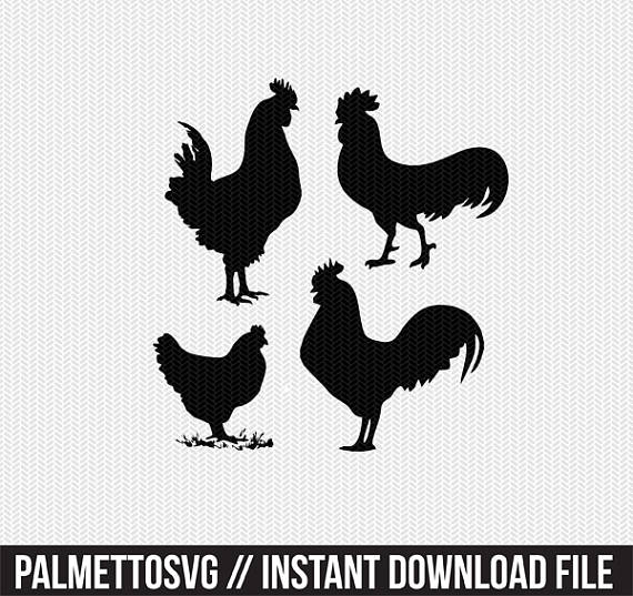 Chickens clipart stencil. Svg dxf file instant