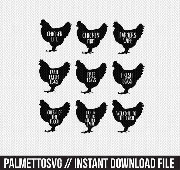 Hen chicken farm set. Chickens clipart stencil