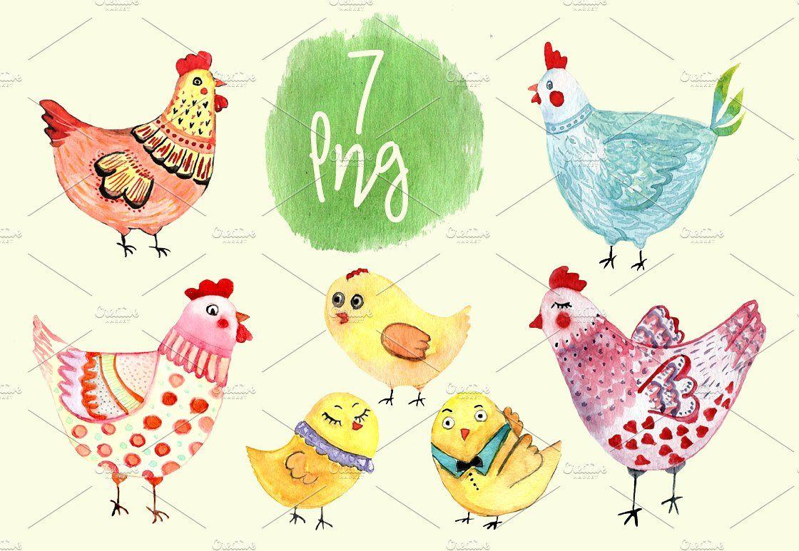 hen clip art. Chickens clipart watercolor