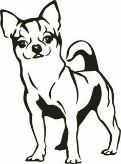 Four stylized dogs on. Chihuahua clipart black and white