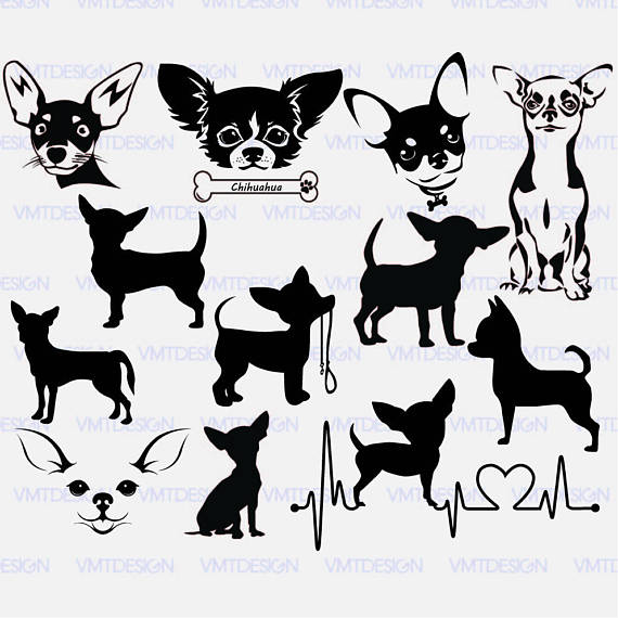 Chihuahua clipart black and white. Svg vector