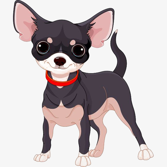 Chihuahua clipart cartoon. Black puppy png image