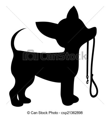 Chihuahua clipart chihuahua silhouette. Vector leash stock illustration