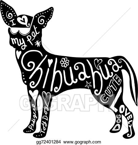 Chihuahua clipart chihuahua silhouette. Stock illustration pet dog