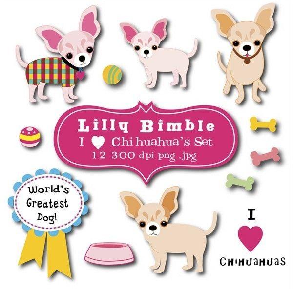 Chihuahua clipart chiwawa. Clip art set via