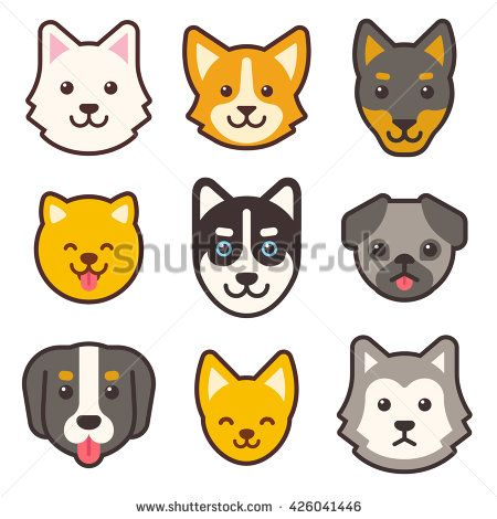 Chihuahua clipart face. Cartoon dog faces set