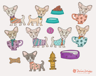 Etsy teacup commercial use. Chihuahua clipart face