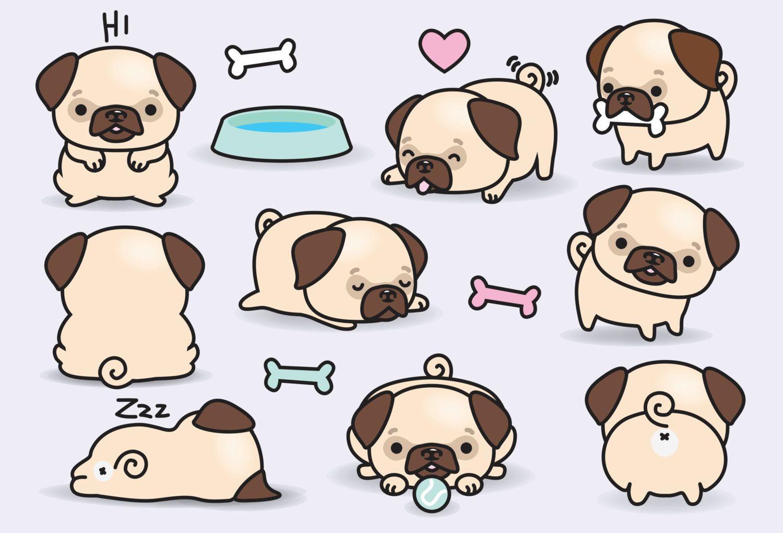 Premium vector pugs cute. Chihuahua clipart kawaii