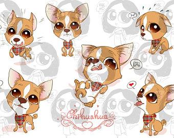 Clip art etsy cute. Chihuahua clipart kawaii