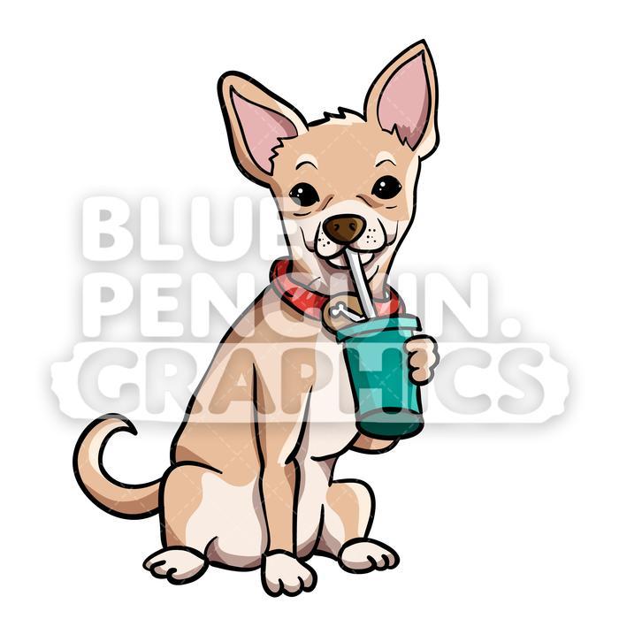 Drinking cartoon illustration . Chihuahua clipart vector