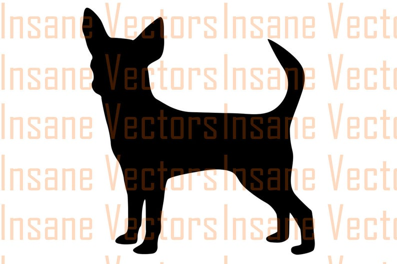 Silhouette clip art image. Chihuahua clipart vector