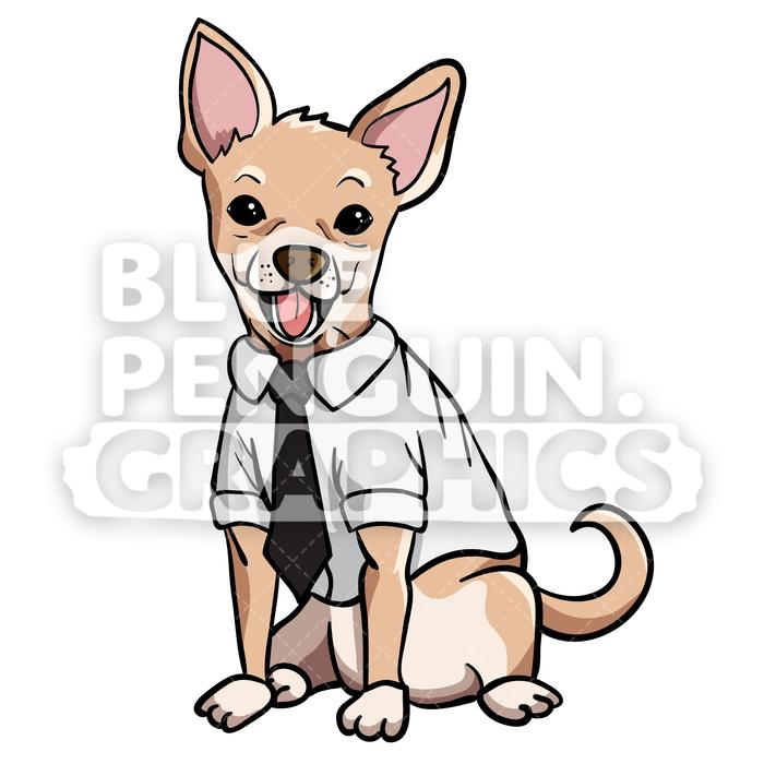 Chihuahua clipart vector. Suit cartoon illustration