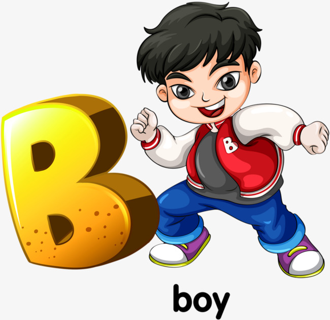 B clipart english letter. Cartoon alphabet boy png