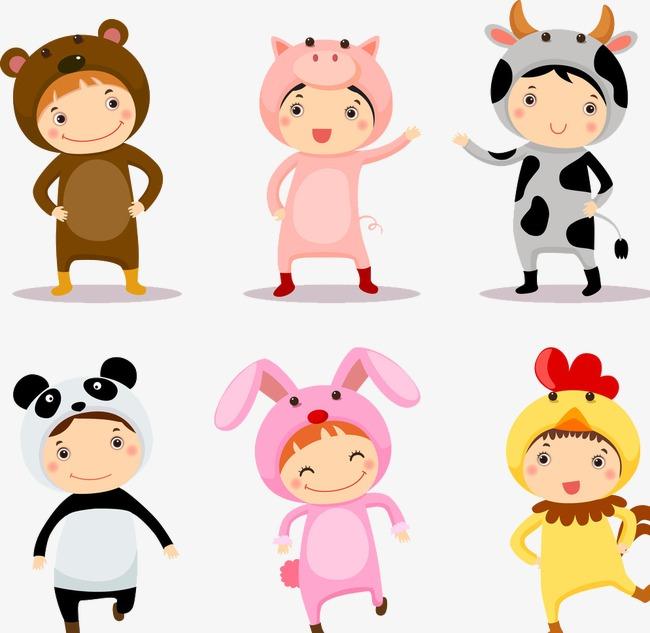 Children wear clothes cartoon. Child clipart animal