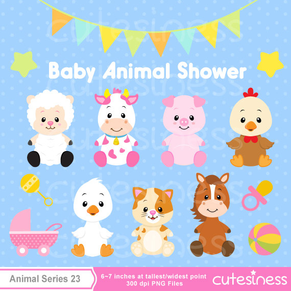 Child clipart animal. Charming baby farm animals