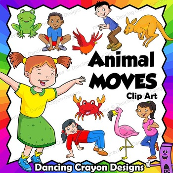 Child clipart animal. Movement kids in poses