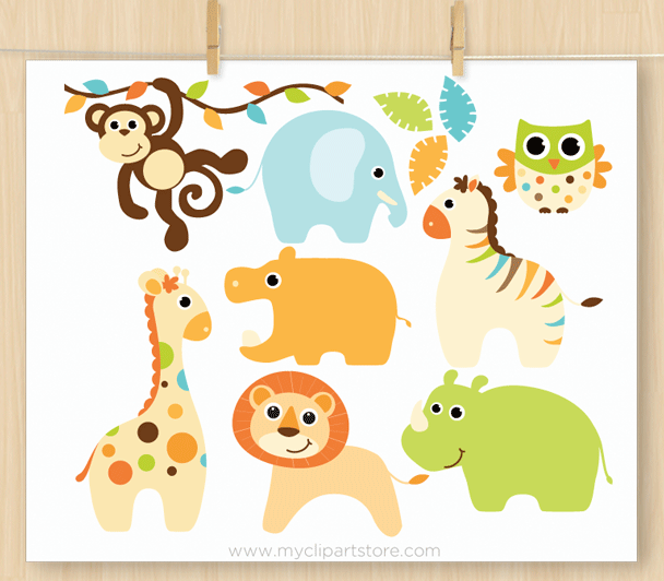 Baby boy safari animals. Child clipart animal