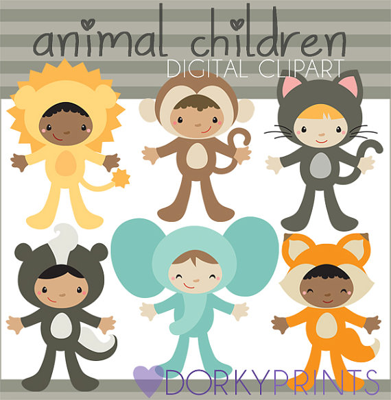 Child clipart animal. Kids in costume personal