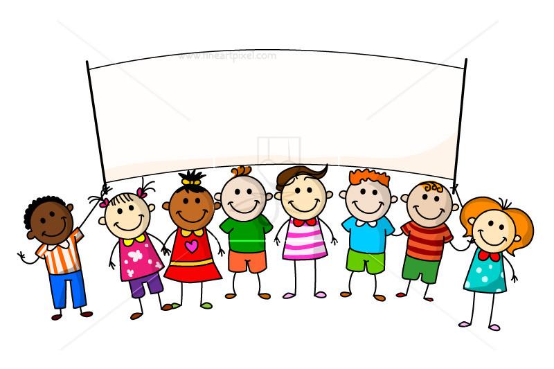 Kids free vectors illustrations. Children clipart banner