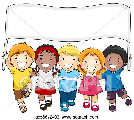 Children clipart banner. Stock illustrations kids gg
