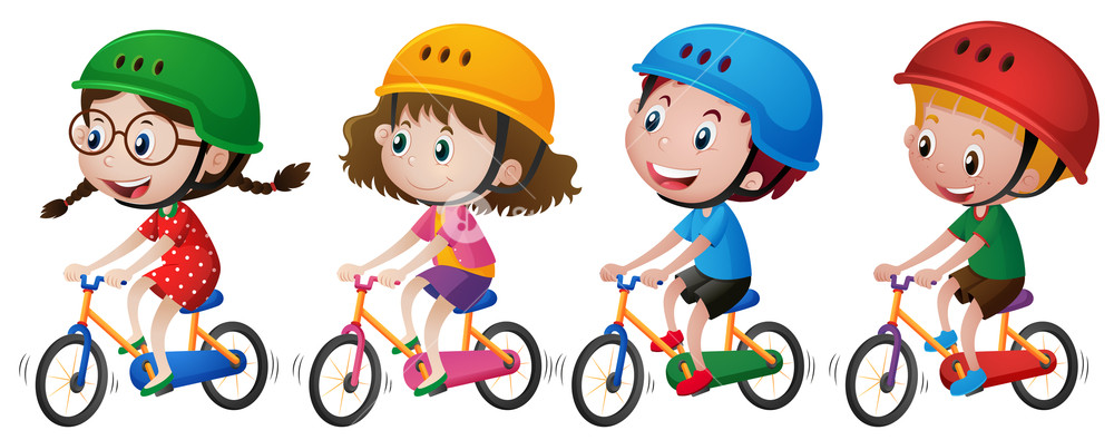Four kids riding with. Bike clipart kid bike