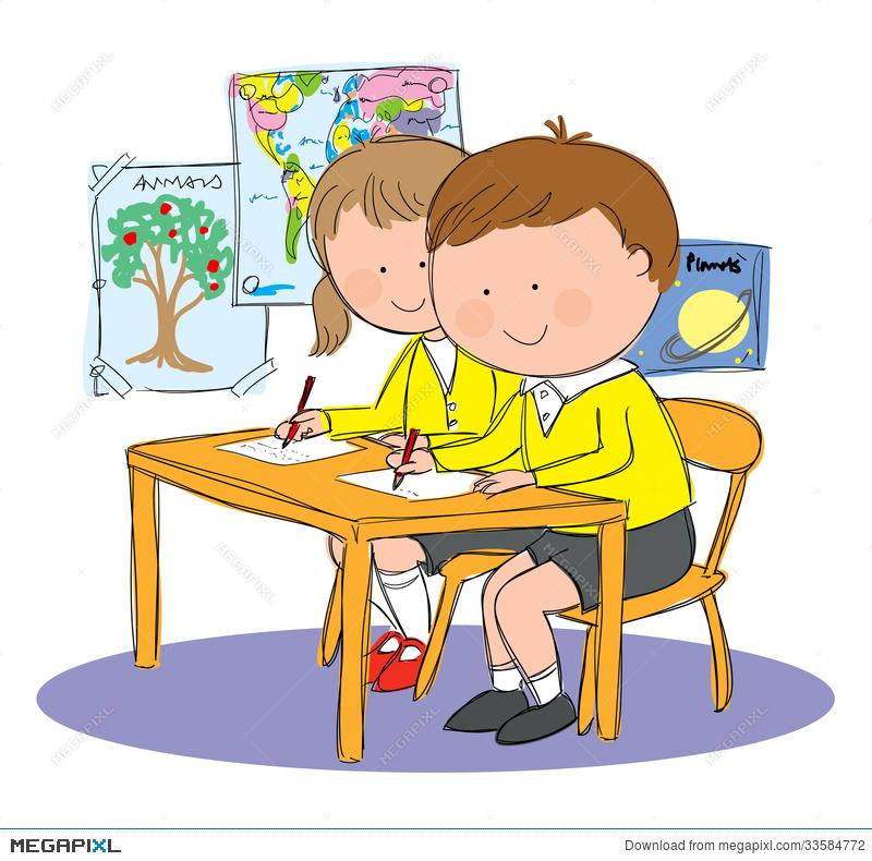 In school kids bordes. Children clipart classroom