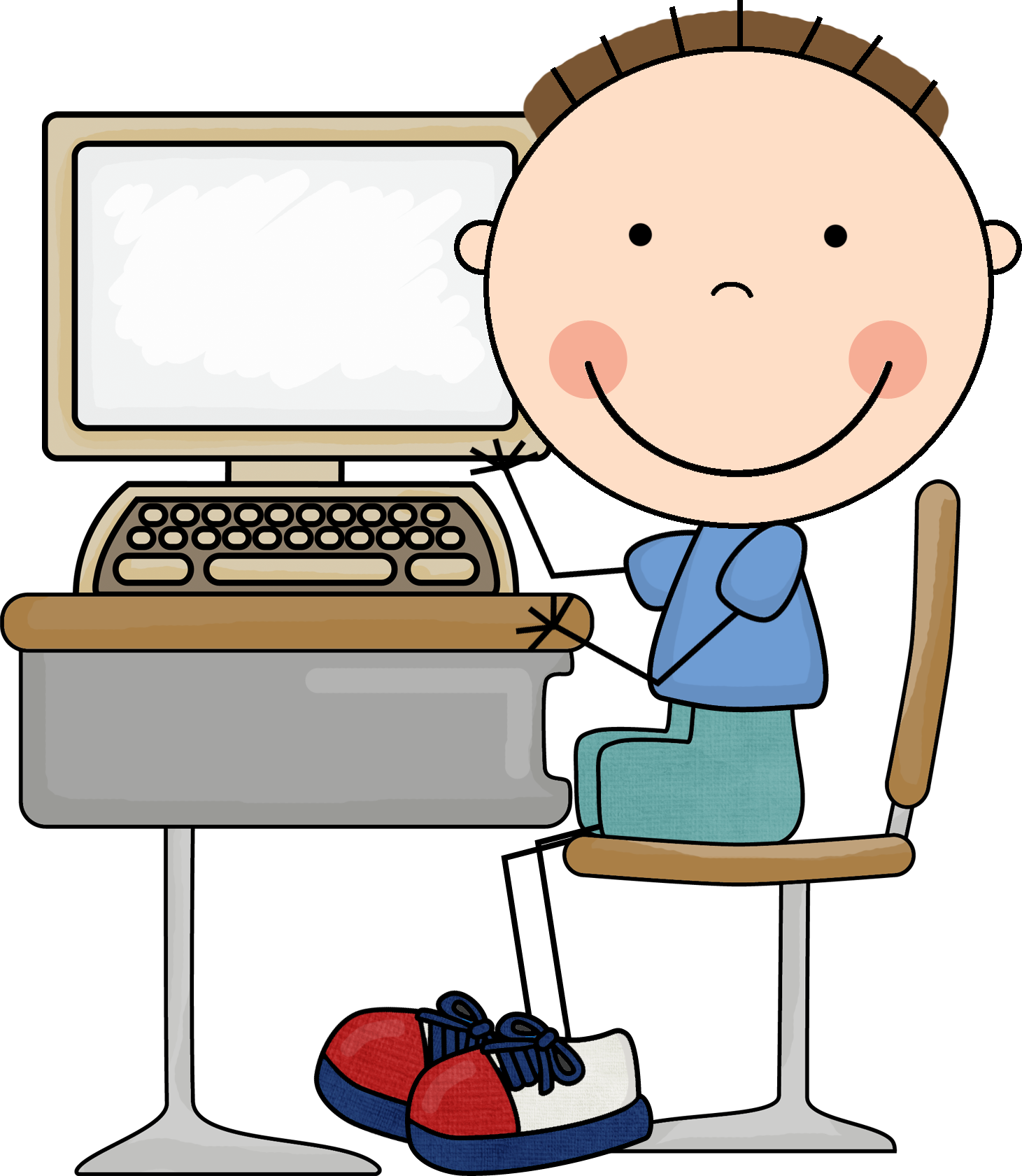 Lab child clip art. Preschool clipart computer