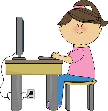 School girl using a. Computer clipart preschool