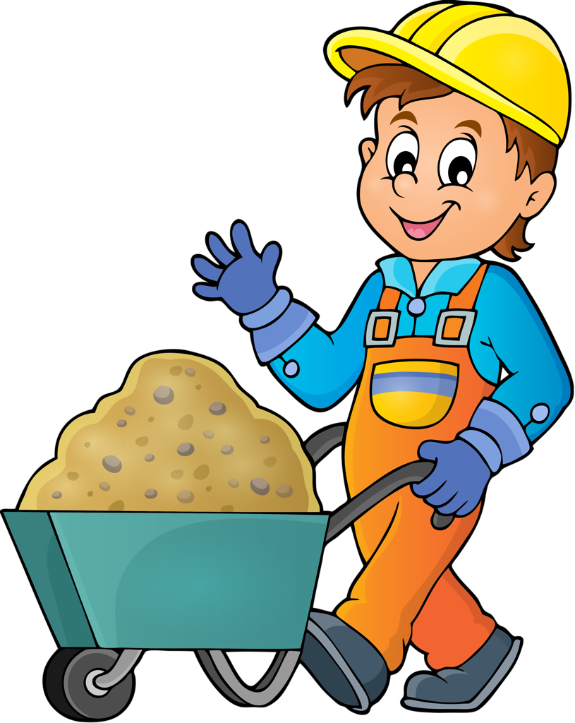 Coloring books for kids. Contractor clipart assembly worker