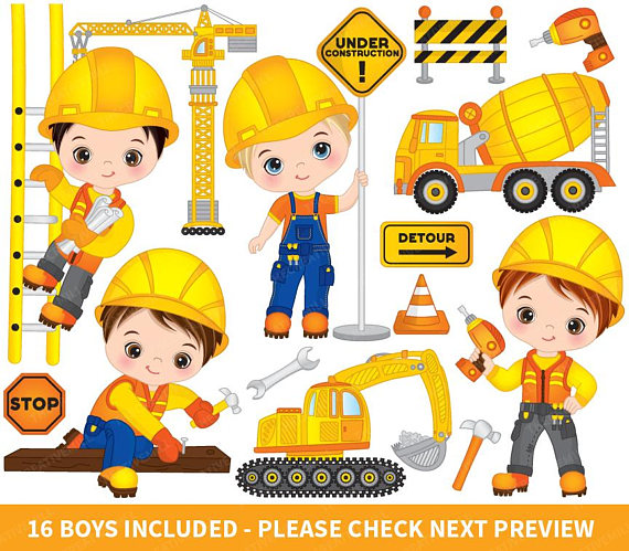Boys vector . Child clipart construction
